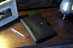 Italian Leather Padfolio Writing Journal w/Tablet Sleeve - Onyx Black