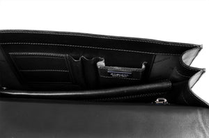 Italian Leather Briefcase - The Arrezo - Onyx Black
