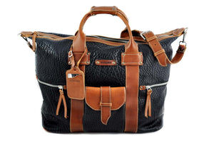 Leather Duffle - Hand-crafted of the finest Italian, vegetable-tanned Buffalo and Vachetta leathers, the Borlino Big Horn bag is great for a weekend getaway. It's loaded with features and pockets inside and out. Easy to over pack. Borlino Italy. Onyx-Terra Tan.