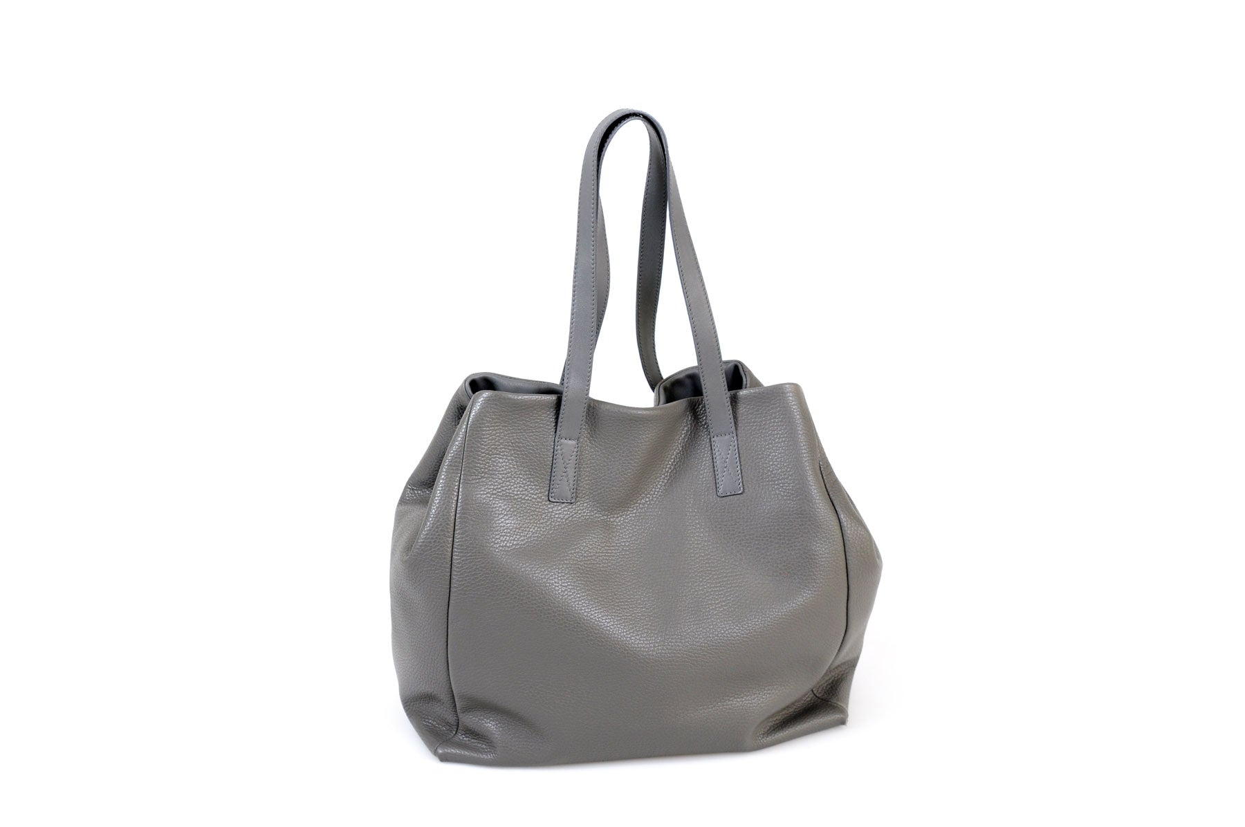 Handmade Italian Leather Shopping Tote - Balzano - Pompeii Grey