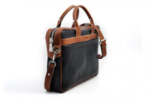 Buffalo Leather Briefcase - The Treviso - Onyx Black with Terra Tan Trims soft leather briefcase handmade in Italy by Borlino.