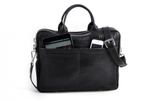 Buffalo Leather Briefcase - The Treviso - Onyx Black soft leather briefcase handmade in Italy by Borlino.