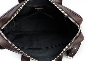 Buffalo Leather Briefcase - The Treviso - Onyx Black with Walnut Brown Trims soft leather briefcase handmade in Italy by Borlino.