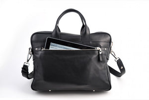 Calf Leather Briefcase - The Treviso - Onyx Black soft leather briefcase handmade in Italy by Borlino.