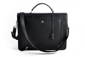 This Italian leather single-gusset, key-locking briefcase is made with perfection in every detail. Handmade in Italy by Borlino of the finest Italian vegetable-tanned leathers and metals. Onyx Black Leathers.