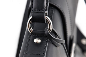 Leather Briefcase - Soft Onyx Calf Leather Briefcase handmade in Italy by Borlino. Zippered pockets throughout.