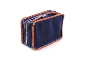 Handmade Canvas with Leather Carryall Tech Kit - Navy Blue / Terra