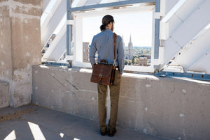 Terra Leather Briefcase Handmade in Italy - This Classic briefcase is a double-gusset case designed for heavy loads. Guaranteed for life.