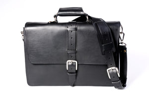 The Cesena Classic Vachetta Leather Briefcase - Onyx Black