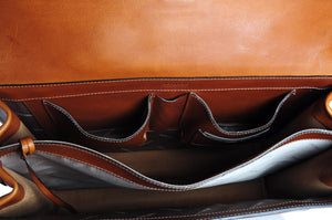 Leather Italian Briefcase - Classic style. Handmade in Italy by Borlino.