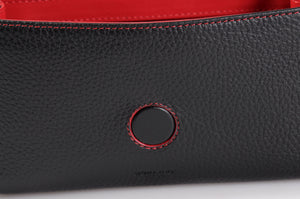 Handmade Italian Leather Clutch - Roma - Onyx Black - Lava Red Trim