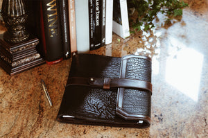Buffalo Leather Italian Handmade Padfolio - Onyx/Walnut - Leather Journals Handmade in Italy.
