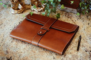 Leather Padfolio Handmade in Italy - Terra Tan Leather Journals and Padfolios by Borlino