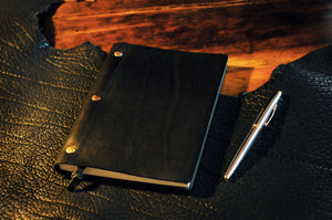 Black Leather Journal with replaceable lined paper - Handmade in Italy by Borlino