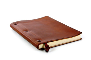 Italian Handmade leather journal with leather bookmark and replaceable paper from Borlino.