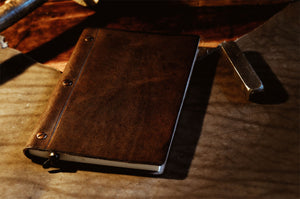 Italian Handmade Walnut Brown leather journal with replaceable paper from Borlino.