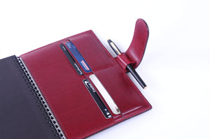 Medium-size Italian Leather Padfolio - Burgundy Wine