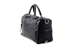 Leather Duffel - One-Night-Stand - Buffalo Onyx Black - This leather duffel bag is constructed of the finest Italian Buffalo and Vachetta leathers. It's perfect for weekend trips that securely fits in the plane overhead or under your seat or a short trip to the gym.