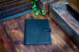 Handmade Leather Magnetic Closure Padfolio - Onyx Black