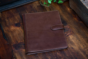 Handmade Leather Magnetic Closure Padfolio - Walnut Brown
