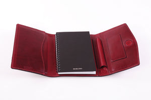 Small Vachetta Padfolio w/Magnetic Closure - Vino Rosso