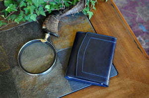 Small Leather Journal w/ Magnet Closure - Midnight Blue