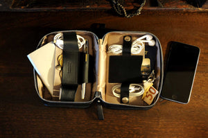 Tech Kit, tech case, tech bag, Handmade, Calf Leather, Carryall, Onyx black