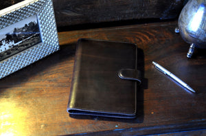Italian Leather Padfolio Writing Journal w/Tablet Sleeve - Walnut