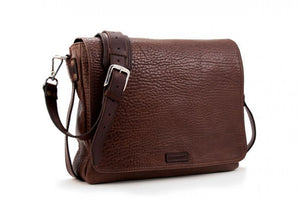 Buffalo Leather Messenger Bag - Walnut Brown