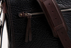 Two-tone Buffalo Leather Messenger Bag - Onyx/Walnut