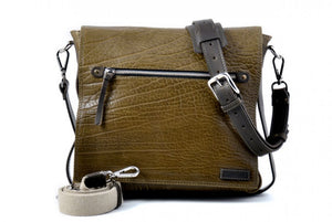 Two-tone Buffalo Leather Messenger Bag - Moss