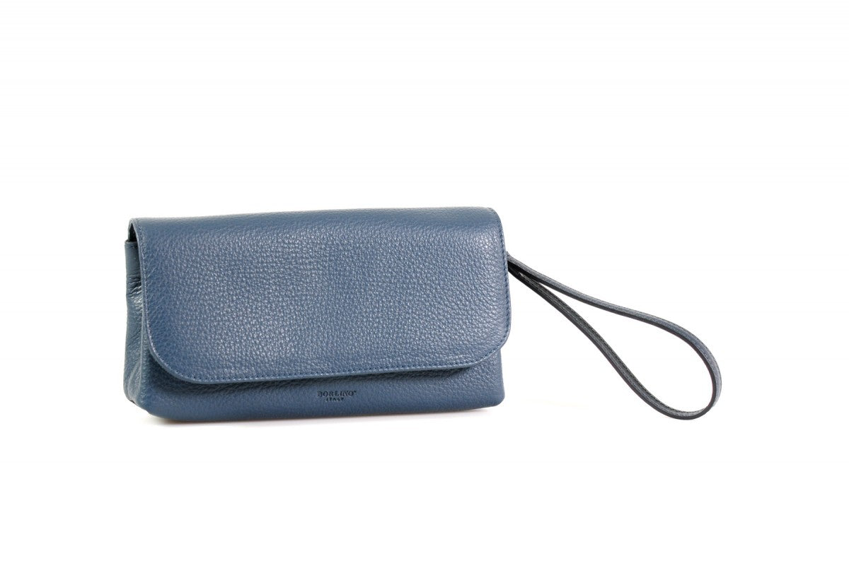 Handmade Italian Leather Clutch - Roma - Capri Blue