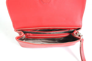 Handmade Italian Leather Clutch - Roma - Lava Red - Natural Trim