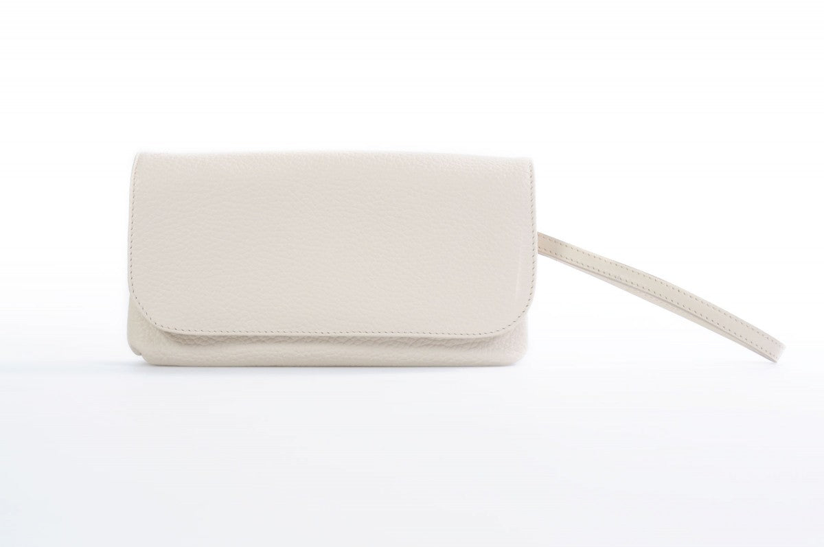 Handmade Italian Leather Clutch - Roma - Luna White