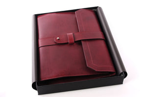 Vachetta Leather Post-Strap Padfolio - Vino Rosso