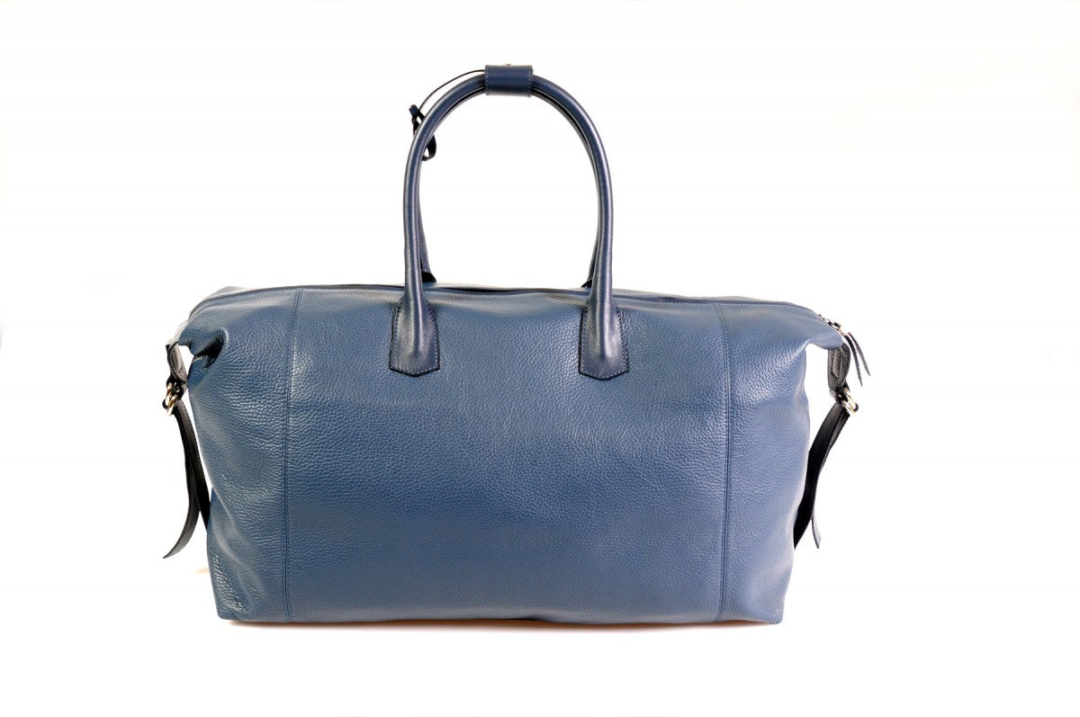 Travel Bag - Handmade Italian Leather Duffel - Genova by Borlino Blue 8eb8e1140f174