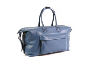 Travel Bag, Handmade, Italian Leather, Duffel, Genova, Capri Blue