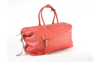 Travel Bag, Handmade, Italian Leather, Duffel, Genova, Lava Red