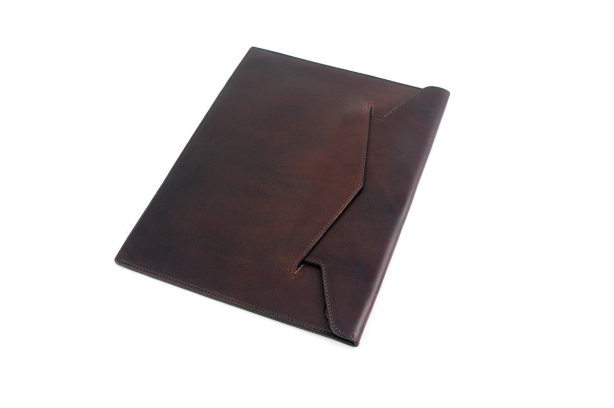 Leather Envelope Document Case - Walnut Brown
