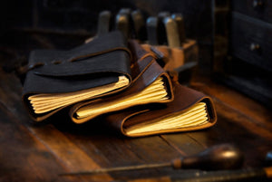 Leather Journals with replaceable handmade Italian papers.