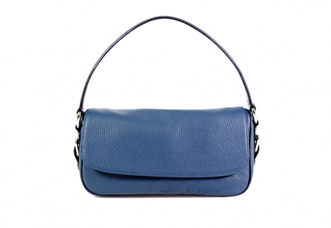Handmade Italian Leather Small Shoulder Bag - Napoli - Capri Blue