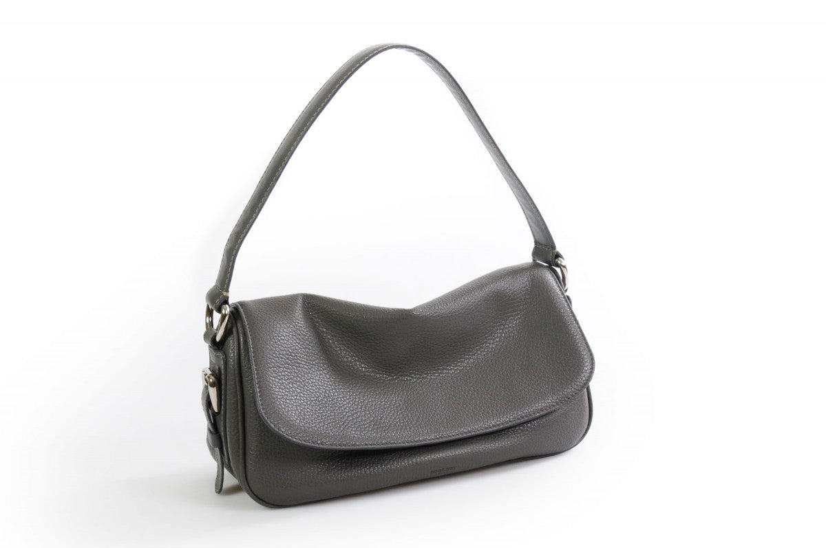 Handmade Italian Leather Small Shoulder Bag - Napoli -  Pompeii Grey