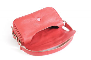 Handmade Italian Leather Small Shoulder Bag - Napoli - Lava Red