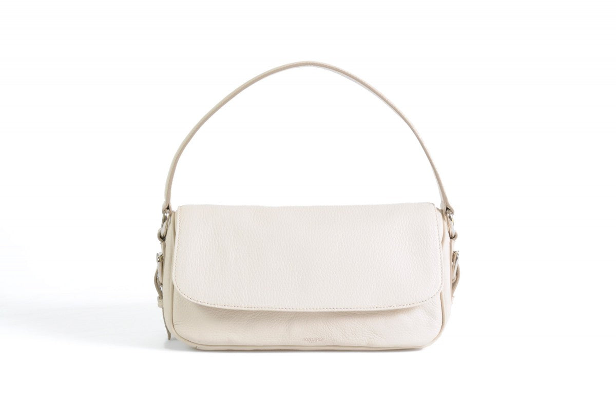 Handmade Italian Leather Small Shoulder Bag - Napoli - Luna White