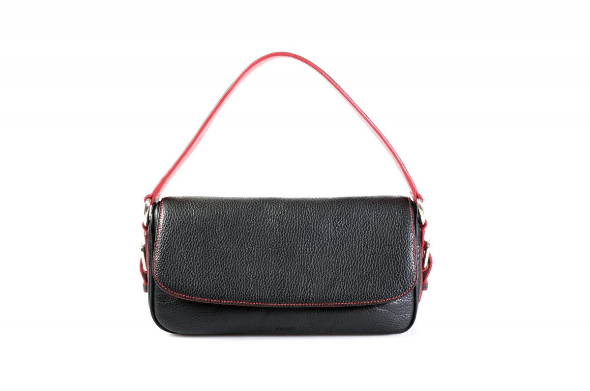 Handmade Italian Leather Small Shoulder Bag - Napoli - Onyx Black - Lava Red Trim