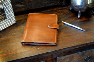 Italian Leather Padfolio Writing Journal w/Tablet Sleeve - Terra