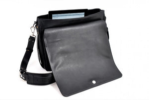Leather Messenger Bag - Onyx Black