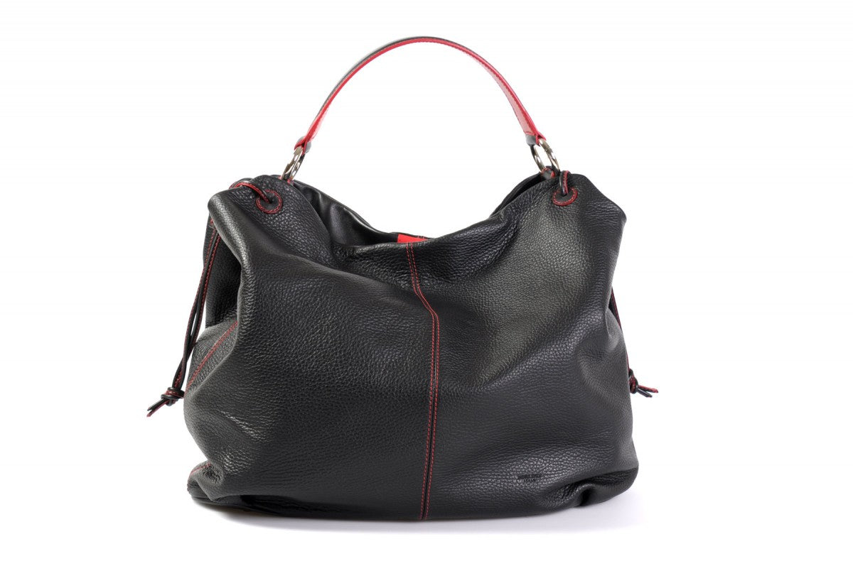 Handmade Italian Leather Shoulder Bag - Latina - OnyxBlack with LavaTrim