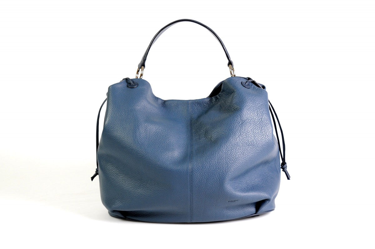 Handmade Italian Leather Shoulder Bag - Latina - Capri Blue