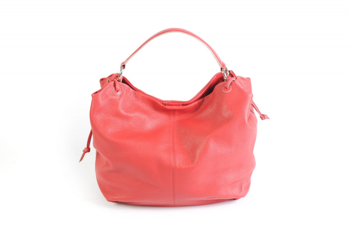 Handmade Italian Leather Shoulder Bag - Latina - Lava Red